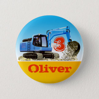 Boys Custom Name and Age Construction Digger 6 Cm Round Badge
