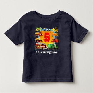 Boy's Custom Name Construction Truck 5th Birthday Toddler T-Shirt