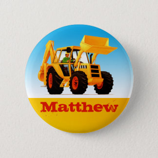 Boys Custom Name Construction Yellow Digger 6 Cm Round Badge