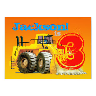 Boy's Custom Yellow Digger 3rd Birthday Party 13 Cm X 18 Cm Invitation Card