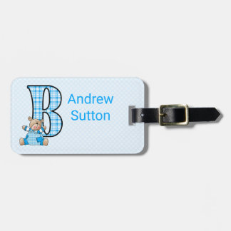 Boy's Cute Teddy Bear Monogram in Blue Luggage Tag