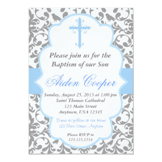 Boys Damask Baptism Invitation