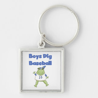 Boys Dig Baseball T-shirts and Gifts Silver-Colored Square Key Ring