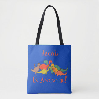 Boys Dino Dinosaur Decor Colorful T-Rex Lizard Tote Bag