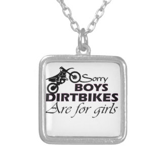 boy's dirt bikes are for girls silver plated necklace