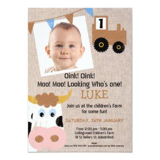 Boys Farmyard Birthday Party Invitation