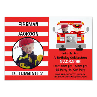 Boys Fire Engine Birthday Invitation