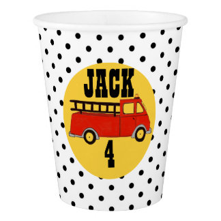 Boys Firetruck Firehouse Fire Station Red Truck Paper Cup
