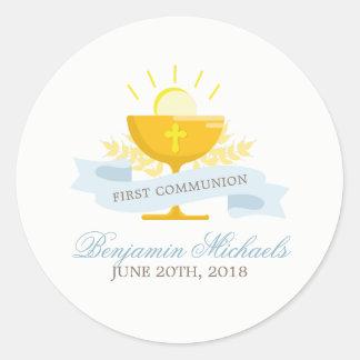 Boys First Holy Communion Round Sticker