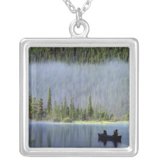 Boys fishing from canoe with mist in square pendant necklace