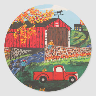 Boys Fishing Under The Covered Bridge Classic Round Sticker