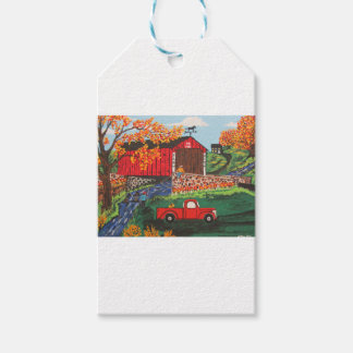 Boys Fishing Under The Covered Bridge Gift Tags