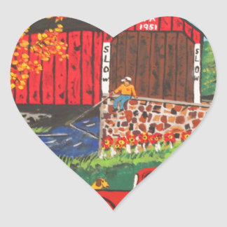 Boys Fishing Under The Covered Bridge Heart Sticker
