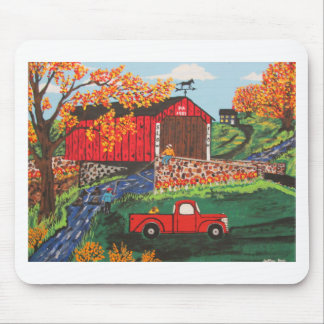 Boys Fishing Under The Covered Bridge Mouse Pad
