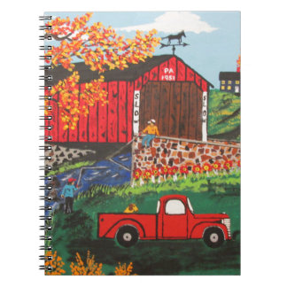 Boys Fishing Under The Covered Bridge Spiral Notebook