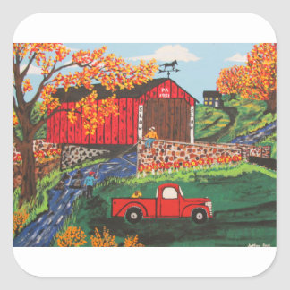 Boys Fishing Under The Covered Bridge Square Sticker