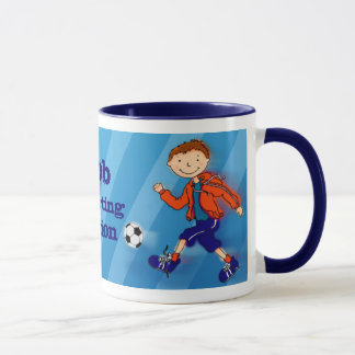 Boys football soccer champion mug blue