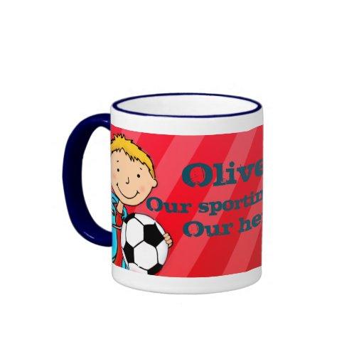 Boys football soccer hero mug red