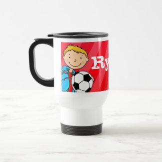 Boys football soccer  name 4 letter mug red