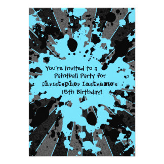 Boys funky blue paint splatter paintball birthday personalized announcement