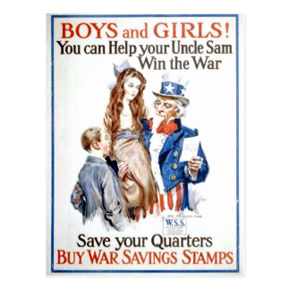 Boys,Girls And Uncle Sam Postcard