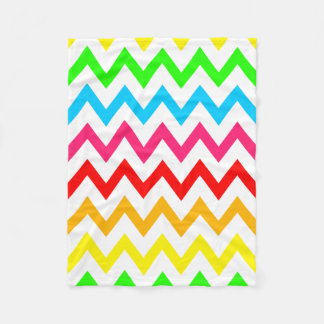 Boys Girls Bright Colorful Chevron Rainbow Fleece Blanket