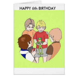 Boys ,  Happy Birthday, card, six, 6, Frog Card