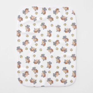Boys Hippo Baseball Pattern Baby Burp Cloths