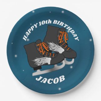 Boy's Ice Skate Birthday Party Paper Plate