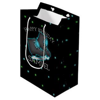 Boy's Ice Skate Birthday Party Personalized Medium Gift Bag
