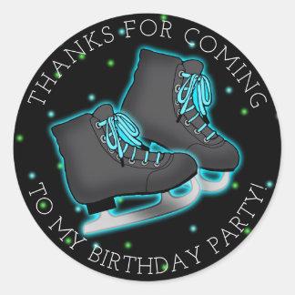 Boy's Ice Skate Birthday Thank You Classic Round Sticker