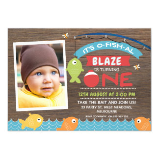 Boy's It's o-fish-al 1st Birthday Invitation