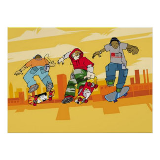 Boys Jumping on Skateboards Poster