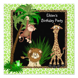 Boys Jungle Birthday Party 13 Cm X 13 Cm Square Invitation Card