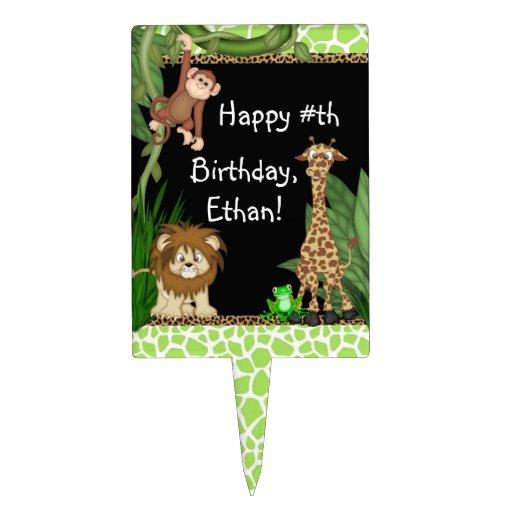 Boys Jungle Safari Birthday Cake Toppers