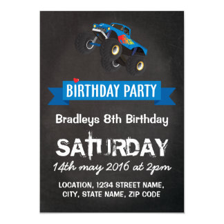 Boys Kids Racing Monster Truck Birthday Party 13 Cm X 18 Cm Invitation Card