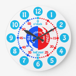 Boys learn to tell time blue red wall clock