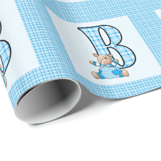 Boys Letter 'B' with Teddy Bear and Blue Gingham