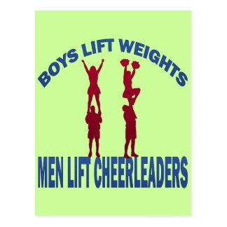 BOYS LIFT WEIGHTS MEN LIFT CHEERLEADERS POSTCARD