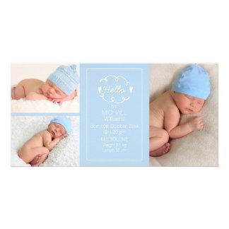 Boys Light Blue Birth Announcement Photocard Photo Cards