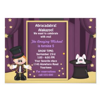 Boys Magic Show Birthday 13 Cm X 18 Cm Invitation Card