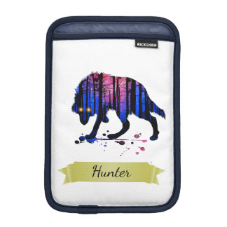 Boys Mens Personalized Trendy Wolf Woods Galaxy iPad Mini Sleeve