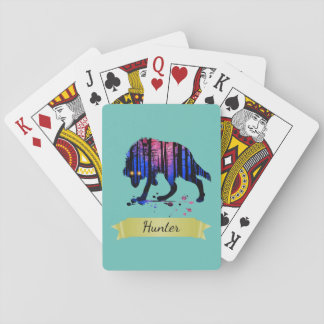 Boys Mens Personalized Trendy Wolf Woods Galaxy Playing Cards