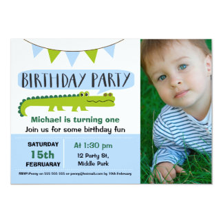 Boys Modern Alligator Birthday Invitation