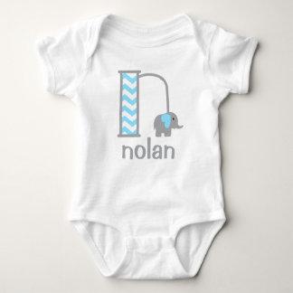 Boys Monogram Bodysuit Baby Boy Elephant Initial n