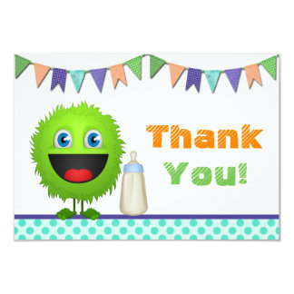 Boys Monster Baby Shower Thank You Card (flat) 9 Cm X 13 Cm Invitation Card