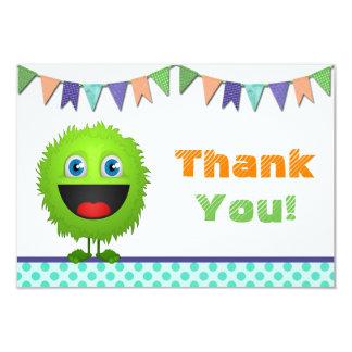 Boys Monster Birthday Bash Thank You Card (flat) 9 Cm X 13 Cm Invitation Card