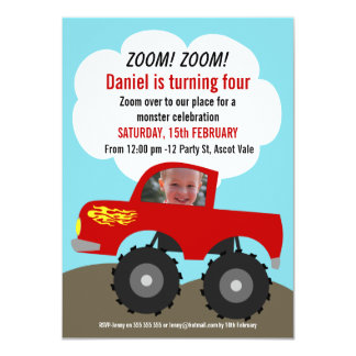 Boys Monster Truck Photo Birthday Invitation