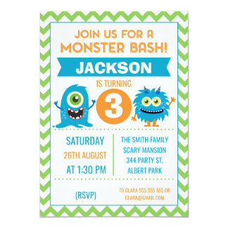Boys Monsters Chevron Birthday Invitation