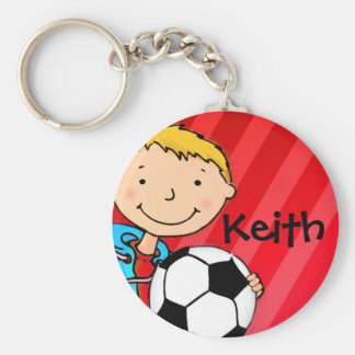 Boys named football red sports keychain